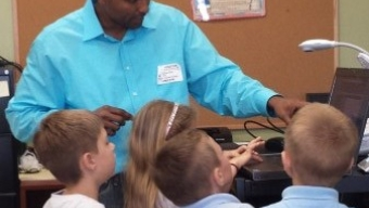 Peter, Students Teach Coding to Viera Charter School First Graders